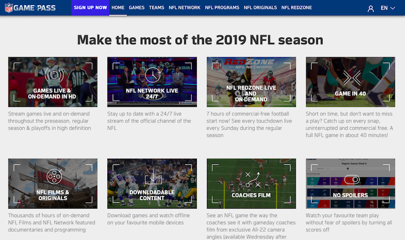 The international version of NFL Game Passlets fans live stream every game, watch NFL RedZone, and so much more.