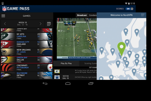 Get NFL Game Pass International in the US with NordVPN